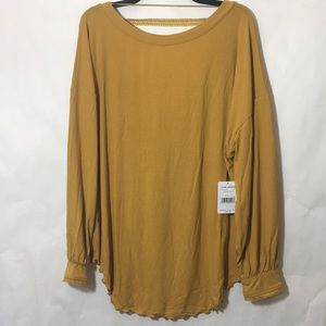 🦋Free People Untamed Gold Shimmy Shake Top NWT